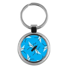 Mosquito Blue Black Key Chains (round)  by AnjaniArt