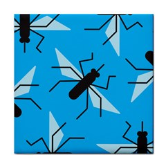 Mosquito Blue Black Face Towel by AnjaniArt
