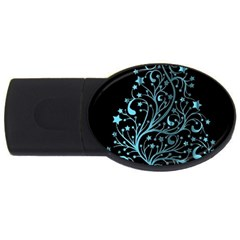 Elegant Blue Christmas Tree Black Background Usb Flash Drive Oval (4 Gb)  by yoursparklingshop