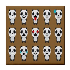 Panda Emoticon Tile Coasters by AnjaniArt
