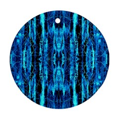 Bright Blue Turquoise  Black Pattern Ornament (round)  by Costasonlineshop