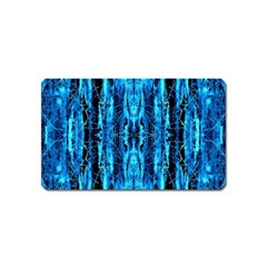 Bright Blue Turquoise  Black Pattern Magnet (name Card) by Costasonlineshop