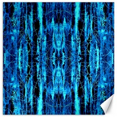 Bright Blue Turquoise  Black Pattern Canvas 16  X 16   by Costasonlineshop
