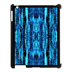 Bright Blue Turquoise  Black Pattern Apple Ipad 3/4 Case (black) by Costasonlineshop