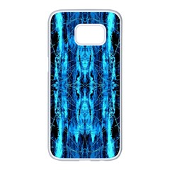 Bright Blue Turquoise  Black Pattern Samsung Galaxy S7 Edge White Seamless Case by Costasonlineshop