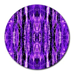 Bright Purple Rose Black Pattern Round Mousepads by Costasonlineshop