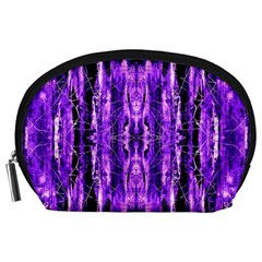 Bright Purple Rose Black Pattern Accessory Pouches (large)  by Costasonlineshop