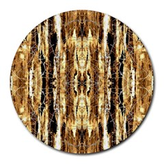 Beige Brown Back Wood Design Round Mousepads by Costasonlineshop