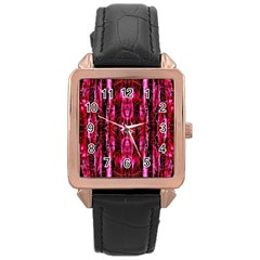 Pink Burgundy Traditional Pattern Rose Gold Leather Watch  by Costasonlineshop