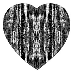 Black White Taditional Pattern  Jigsaw Puzzle (heart) by Costasonlineshop