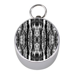 Black White Taditional Pattern  Mini Silver Compasses by Costasonlineshop