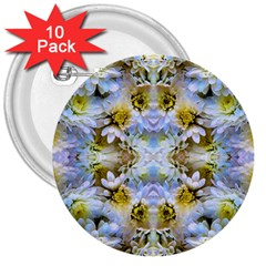 Blue Yellow Flower Girly Pattern, 3  Buttons (10 Pack)  by Costasonlineshop