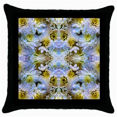 Blue Yellow Flower Girly Pattern, Throw Pillow Case (black) by Costasonlineshop