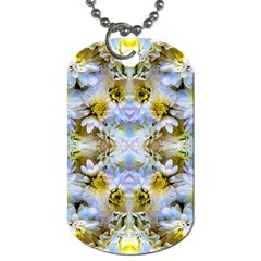 Blue Yellow Flower Girly Pattern, Dog Tag (Two Sides) by Costasonlineshop