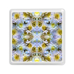 Blue Yellow Flower Girly Pattern, Memory Card Reader (square)  by Costasonlineshop