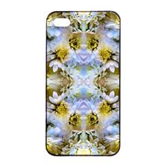 Blue Yellow Flower Girly Pattern, Apple iPhone 4/4s Seamless Case (Black) by Costasonlineshop