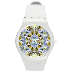 Blue Yellow Flower Girly Pattern, Round Plastic Sport Watch (m) by Costasonlineshop