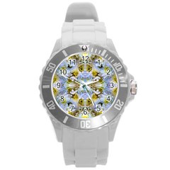 Blue Yellow Flower Girly Pattern, Round Plastic Sport Watch (l) by Costasonlineshop