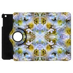 Blue Yellow Flower Girly Pattern, Apple Ipad Mini Flip 360 Case by Costasonlineshop