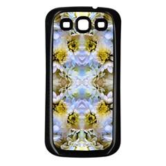 Blue Yellow Flower Girly Pattern, Samsung Galaxy S3 Back Case (black) by Costasonlineshop