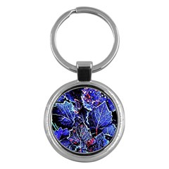 Blue Leaves In Morning Dew Key Chains (round)  by Costasonlineshop