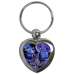 Blue Leaves In Morning Dew Key Chains (heart)  by Costasonlineshop