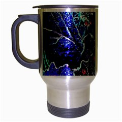 Blue Leaves In Morning Dew Travel Mug (silver Gray) by Costasonlineshop