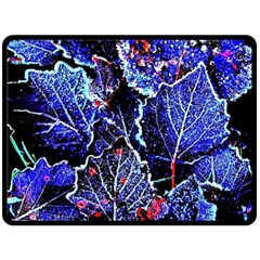 Blue Leaves In Morning Dew Fleece Blanket (large)  by Costasonlineshop