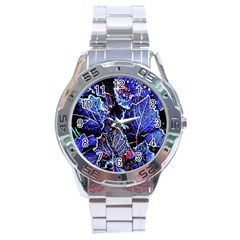 Blue Leaves In Morning Dew Stainless Steel Analogue Watch by Costasonlineshop