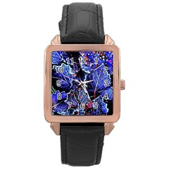Blue Leaves In Morning Dew Rose Gold Leather Watch  by Costasonlineshop