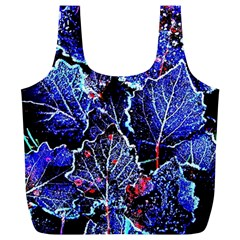 Blue Leaves In Morning Dew Full Print Recycle Bags (L)  by Costasonlineshop