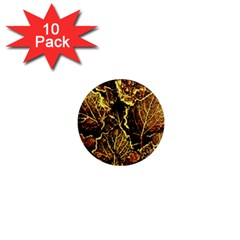 Leaves In Morning Dew,yellow Brown,red, 1  Mini Magnet (10 Pack)  by Costasonlineshop