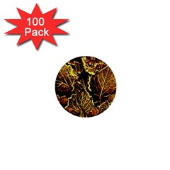 Leaves In Morning Dew,yellow Brown,red, 1  Mini Buttons (100 Pack)  by Costasonlineshop