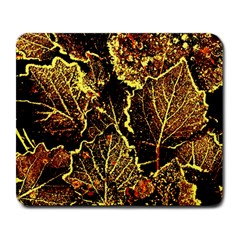 Leaves In Morning Dew,yellow Brown,red, Large Mousepads by Costasonlineshop