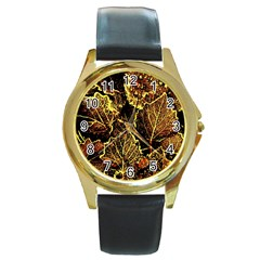 Leaves In Morning Dew,yellow Brown,red, Round Gold Metal Watch by Costasonlineshop