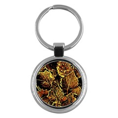 Leaves In Morning Dew,yellow Brown,red, Key Chains (round)  by Costasonlineshop