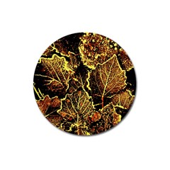 Leaves In Morning Dew,yellow Brown,red, Magnet 3  (round) by Costasonlineshop