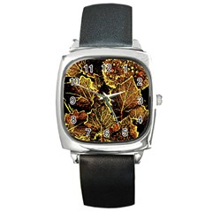 Leaves In Morning Dew,yellow Brown,red, Square Metal Watch by Costasonlineshop