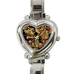 Leaves In Morning Dew,yellow Brown,red, Heart Italian Charm Watch by Costasonlineshop