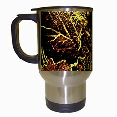 Leaves In Morning Dew,yellow Brown,red, Travel Mugs (white) by Costasonlineshop