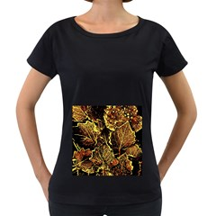 Leaves In Morning Dew,yellow Brown,red, Women s Loose Fit T Shirt (black) by Costasonlineshop