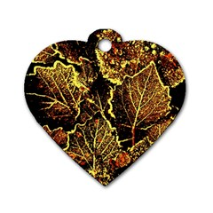 Leaves In Morning Dew,yellow Brown,red, Dog Tag Heart (one Side) by Costasonlineshop