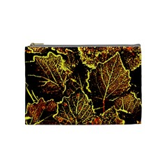 Leaves In Morning Dew,yellow Brown,red, Cosmetic Bag (medium)  by Costasonlineshop