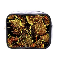Leaves In Morning Dew,yellow Brown,red, Mini Toiletries Bags by Costasonlineshop
