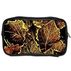 Leaves In Morning Dew,yellow Brown,red, Toiletries Bags 2 Side by Costasonlineshop