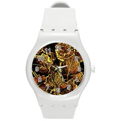 Leaves In Morning Dew,yellow Brown,red, Round Plastic Sport Watch (m) by Costasonlineshop