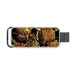 Leaves In Morning Dew,yellow Brown,red, Portable Usb Flash (one Side) by Costasonlineshop