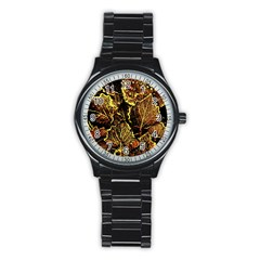 Leaves In Morning Dew,yellow Brown,red, Stainless Steel Round Watch by Costasonlineshop