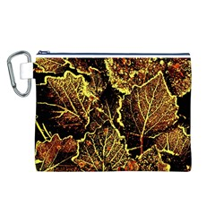 Leaves In Morning Dew,yellow Brown,red, Canvas Cosmetic Bag (l) by Costasonlineshop