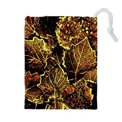 Leaves In Morning Dew,yellow Brown,red, Drawstring Pouches (extra Large) by Costasonlineshop